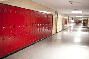 high school hallway and lockers