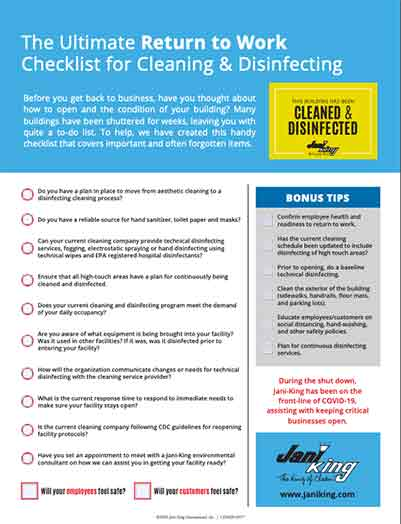 disinfecting and cleaning checklist